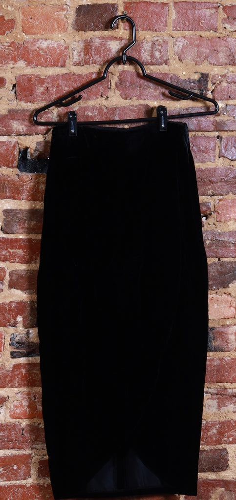 BLK High Waisted Velvet Skirt w/ Split
