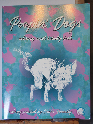 "Pooping Dogs Coloring Book, 36 pages including cover. 8 1/2"" x 11"""