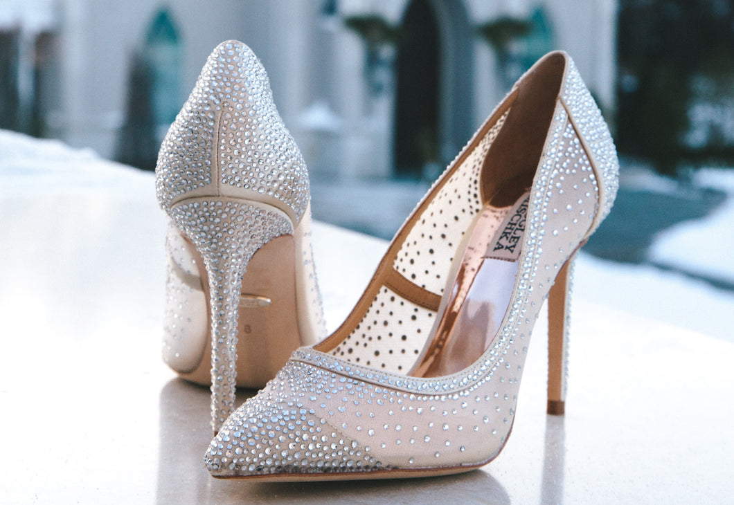 Glitter White Pointed-Toe Pumps