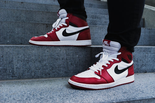 Red-and-white Nike Air Jordan 1 Shoes