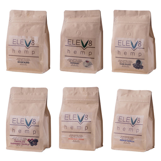 Elev8 Hemp 12oz Hemp Protein Powder Coffee