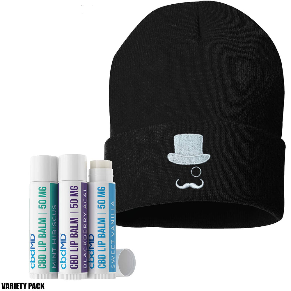 cbdMD 50mg CBD Lip Balm Variety Pack and Mr CBD Beanie