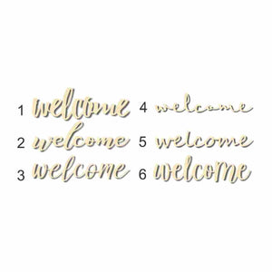 "Unfinished Wooden Welcome Cutout up to 48"" Wide - Home Decor"