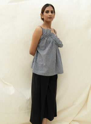 frilled top in cotton gingham checks