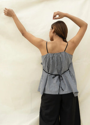 strap top in cotton gingham checks