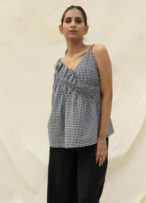 black and white gingham check top in cotton