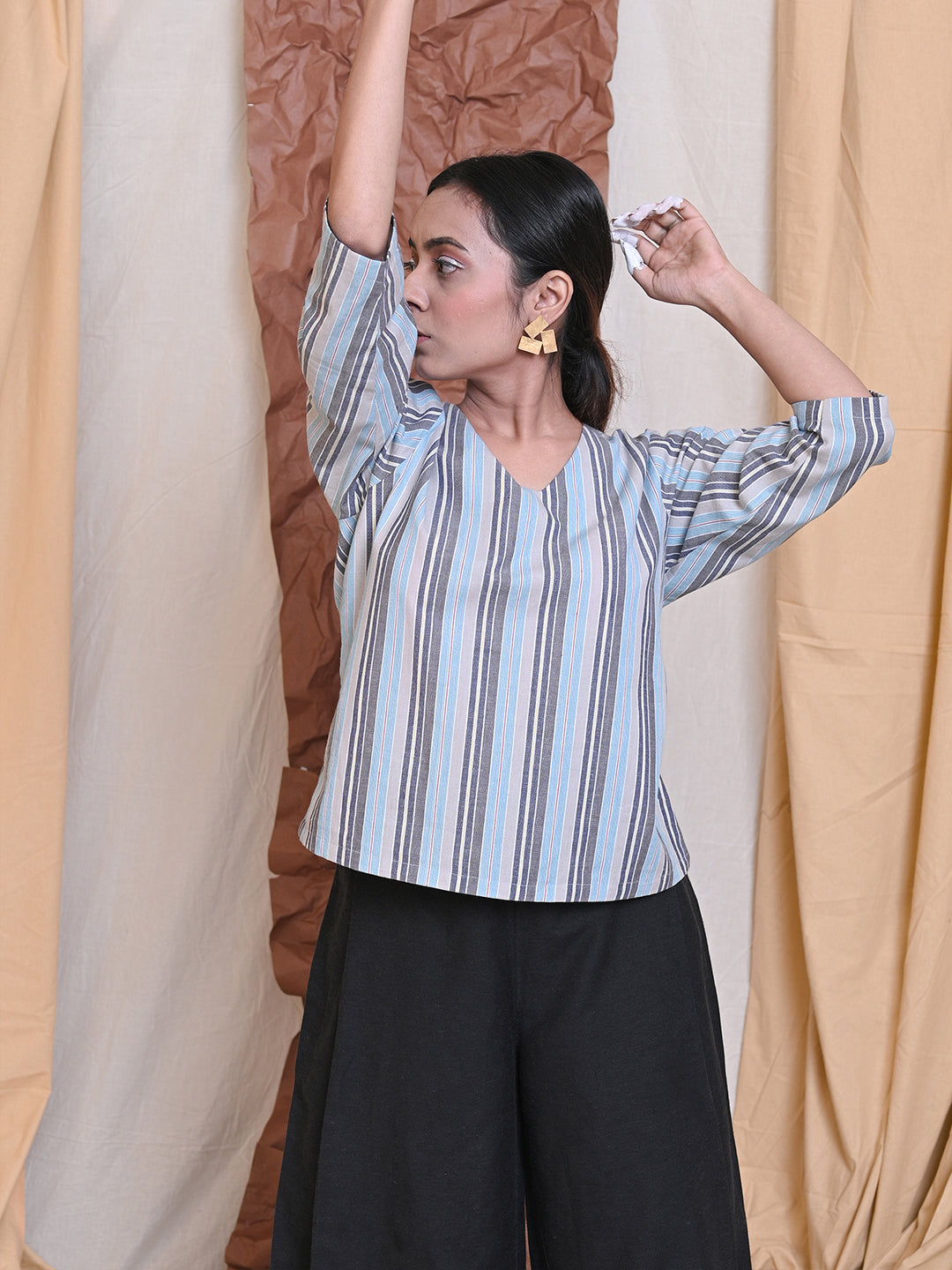 workwear essential top in striped cotton
