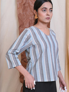 workwear top in cotton stripes
