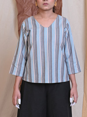 striped cotton blouse in blue