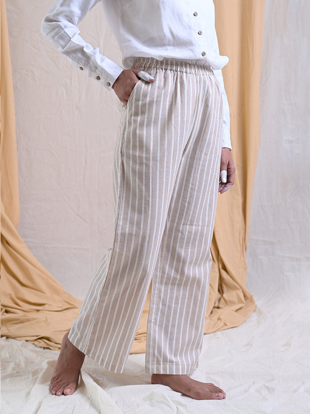 cotton striped pants with elasticated waist