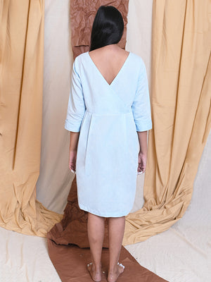 BACK TO FRONT DRESS - LIGHT BLUE