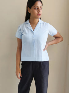 NOTCHED COLLAR TOP - LIGHT BLUE