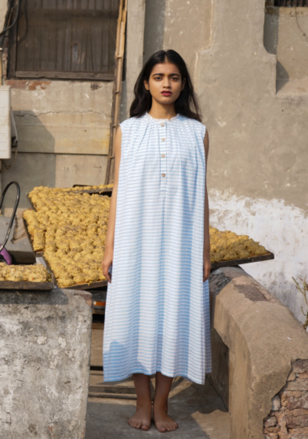 GATHERED STRIPED MIDI