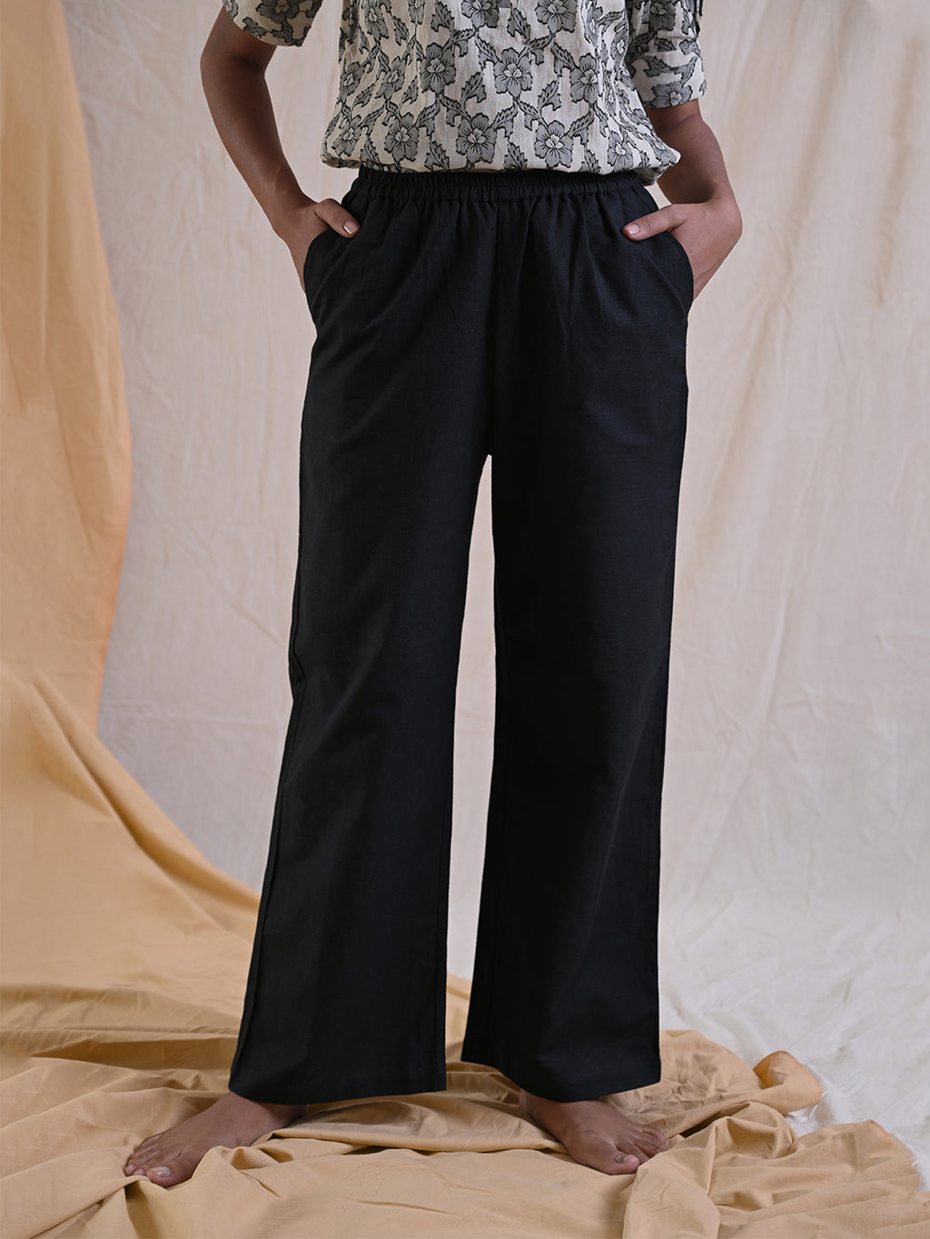 black cotton pants with elasticated waist