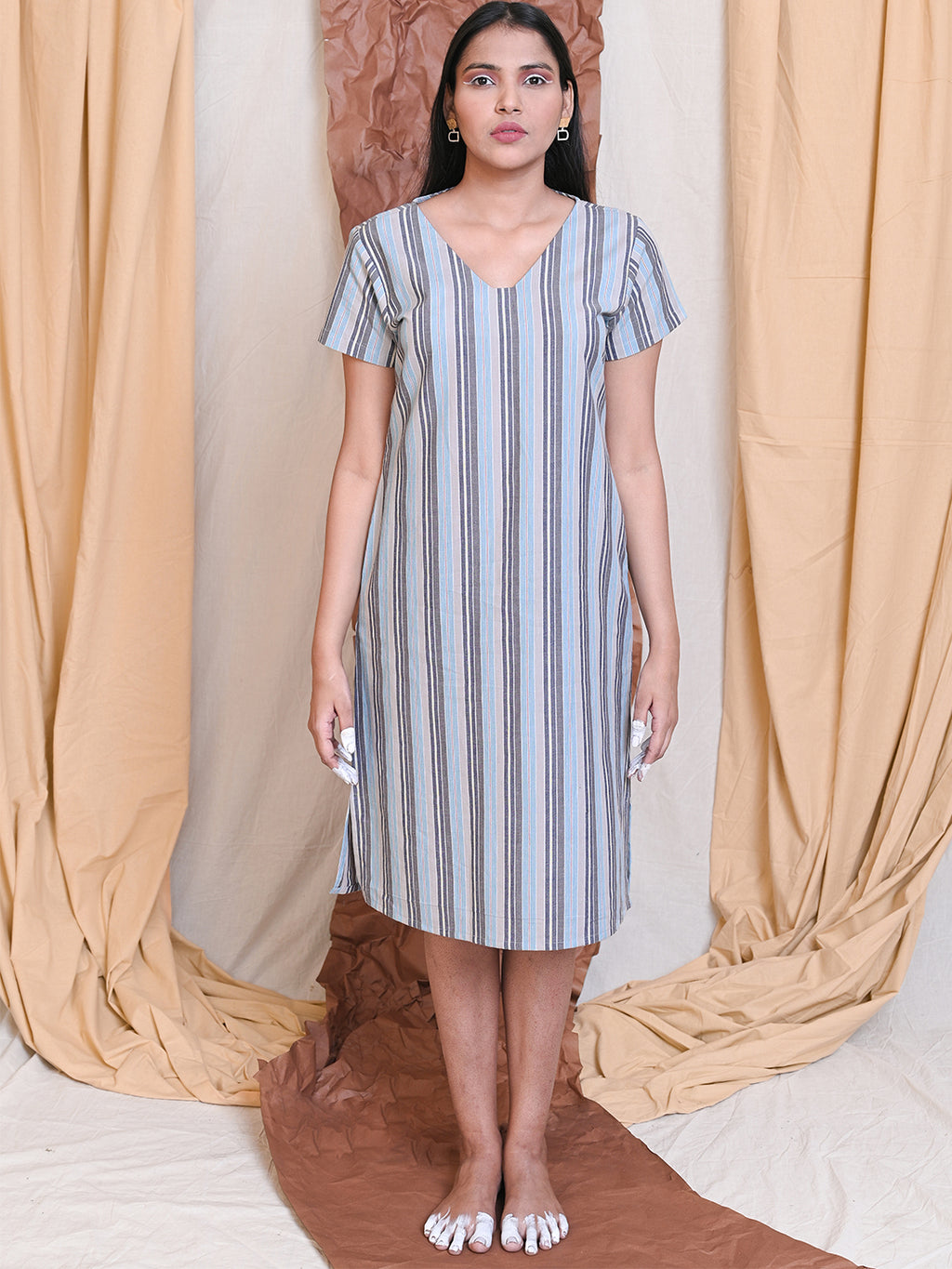 blue and grey striped cotton shift dress
