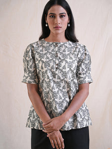 floral top in cotton jacquard