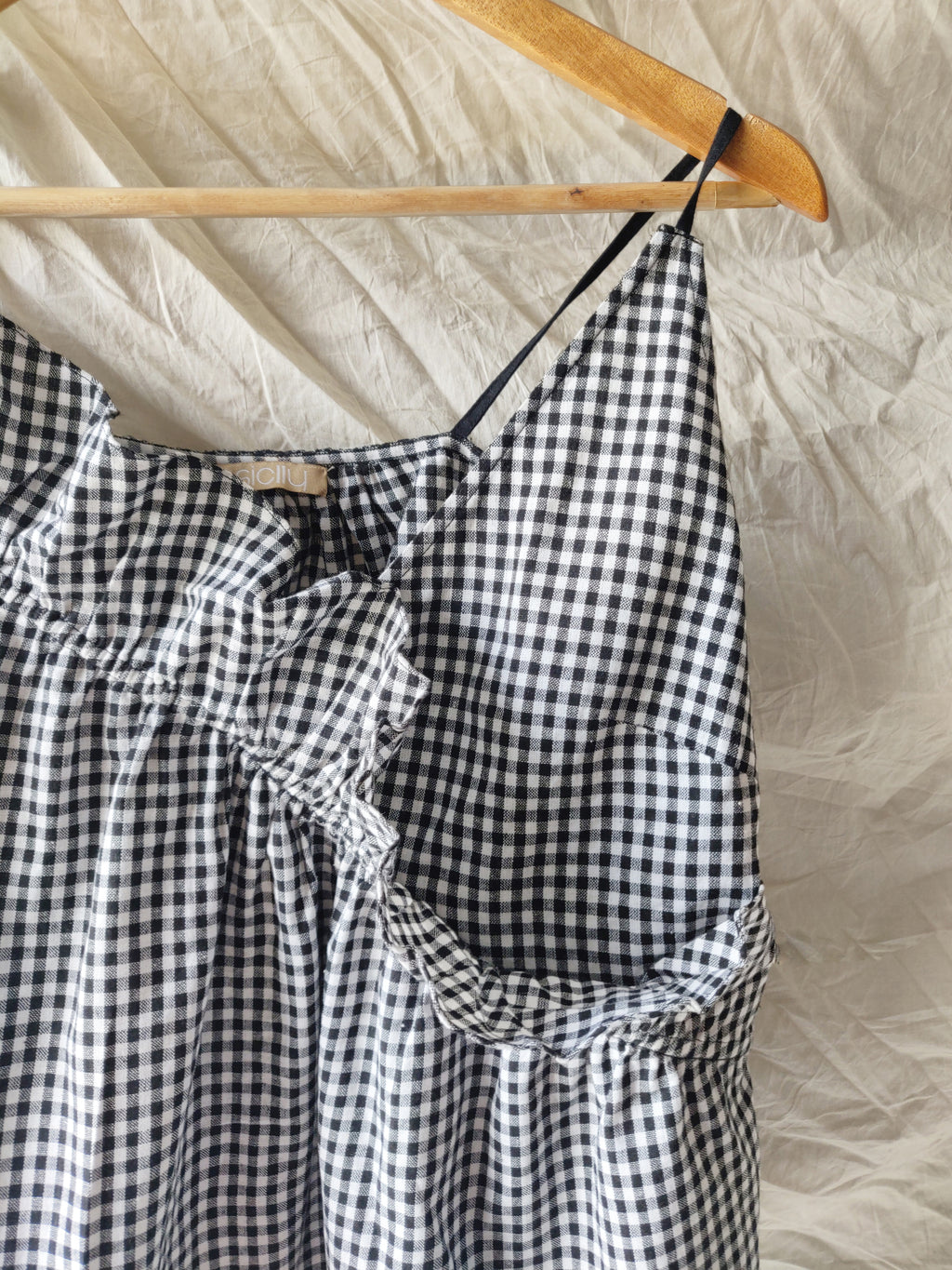 FRILLED SPAGHETTI TOP - GINGHAM