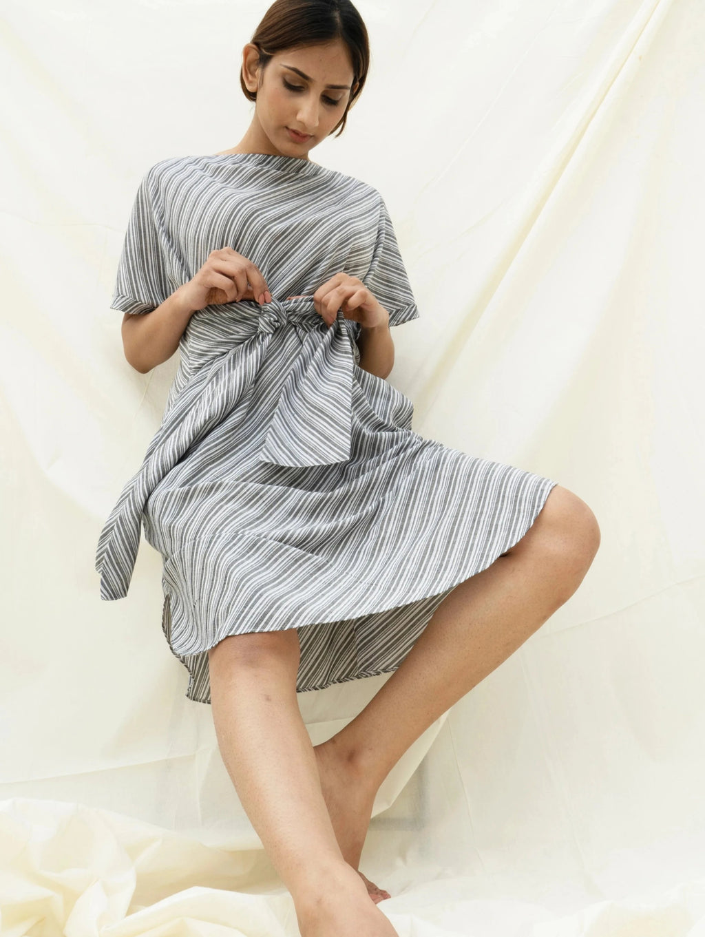 striped cotton dress cinched at waist