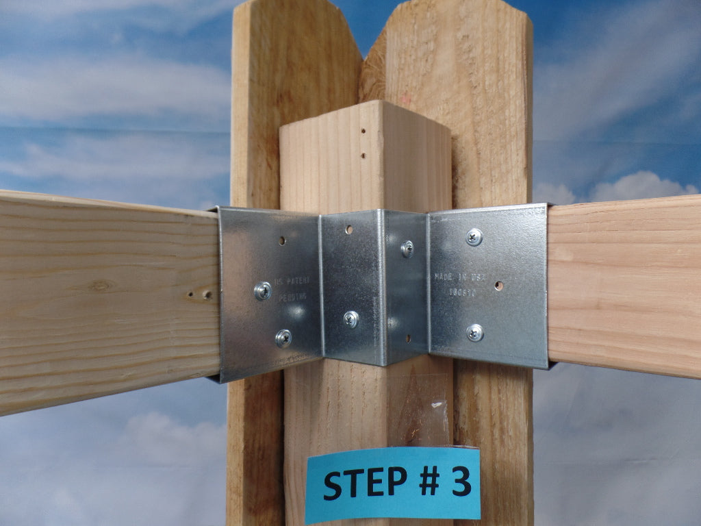 Solid Corner Bracket with wide 2 x 4 sides (Click to see more details on this bracket / DIY video)