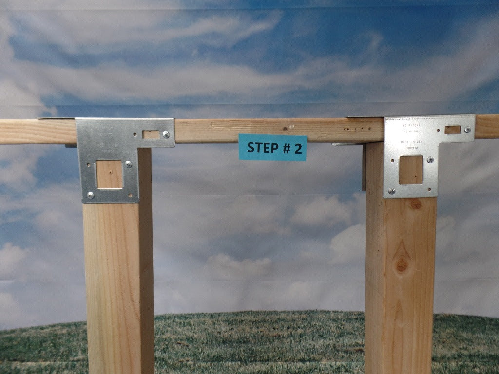 Top Post Good Neighbor Both Sides on top of 2 x 4's (Click to see more details on this bracket / DIY video)