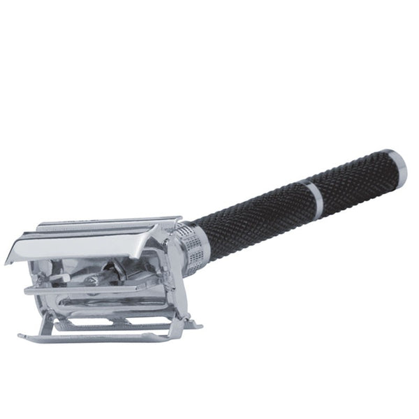 BUTTERFLY - DE Safety Razor i sort slebet krom - Erbe Solingen - Barber&Care