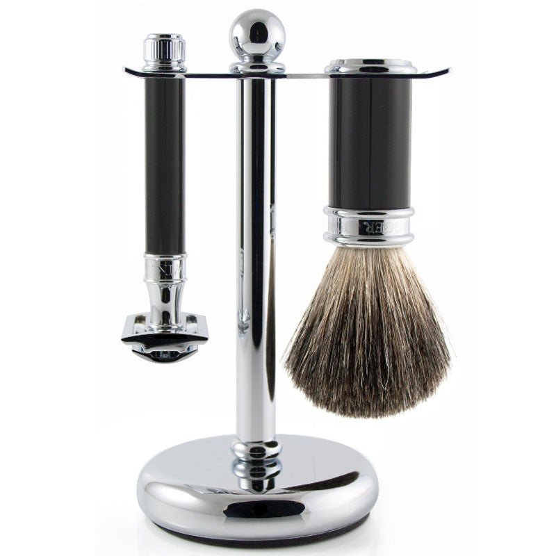 Sort barbersæt med DE Safety Razor, Barberkost og Holder - Barber&Care