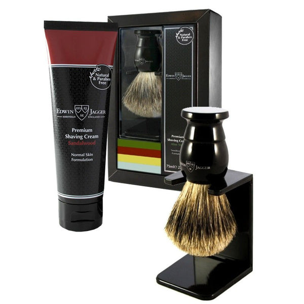 Gavesæt Barberkost, holder og Barbercreme Sandalwood - Barber&Care