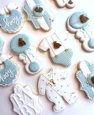 Order custom and customizable decorated cookies for baby showers, wedding showers, weddings, birthdays and gifts from Sugarica Cookies at www.sugaricacookies.com
