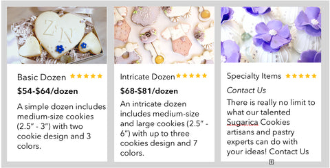 Shop Sugarica Cookies to order custom decorated cookies and gourmet gifts at www.sugaricacookies.com