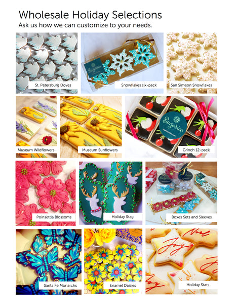 Order Wholesale Cookies, Decorated Cookie, Holiday Cookies online at Sugarica Cookies. Search the best selections of wholesale gourmet desserts and cookies online at www.sugarica cookies.com