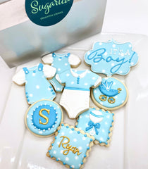 Order custom decorated cookies for a Baby Shower, a Baby Reveal or to celebrate the birth of a baby boy or baby girl from Sugarica Cookies.