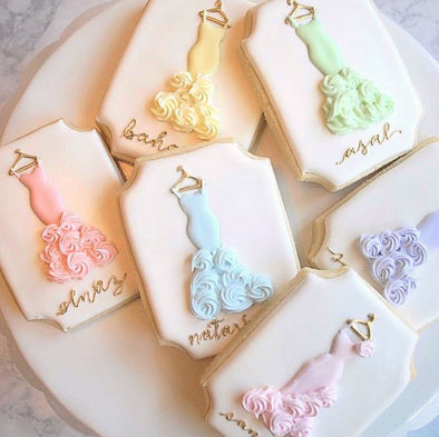 Order cusomizable decorated Bridesmaid Cookies and Wedding Cookies online at www.sugaricacookies.com