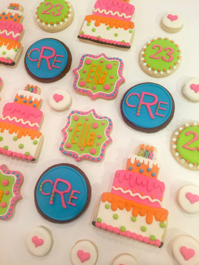 Order customizable decorated cookies and iced cookies for birthdays, weddings, baby showers and corporate events from Sugarica Cookies.