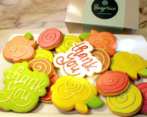 Order custom decorated cookies and thank you cookies online at Sugarica Cookies from shipping and delivery anywhere in the United States.