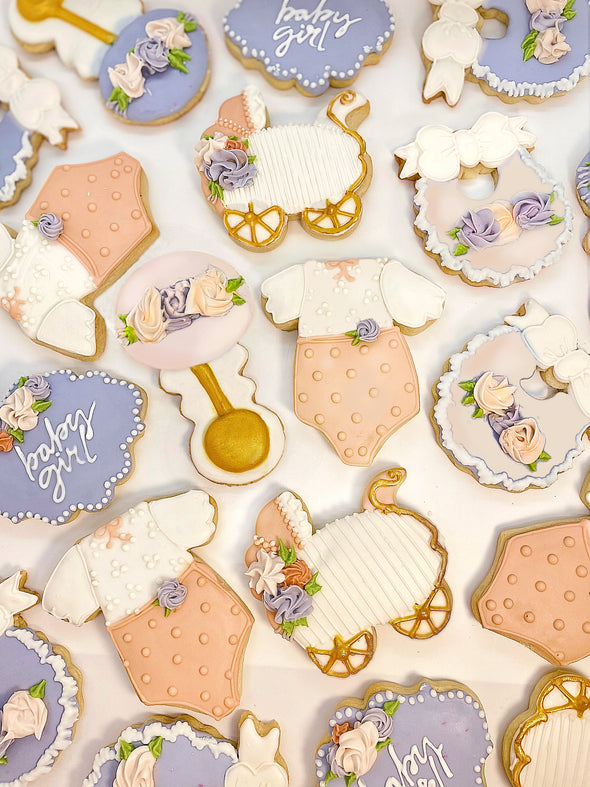 Customizable Baby Girl Celebration with 18 Cookies