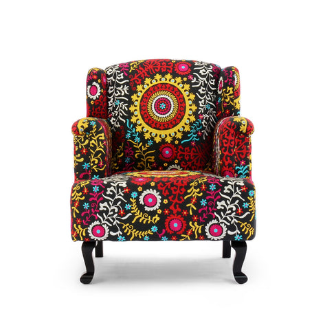 Embroidered Black Wing Chair