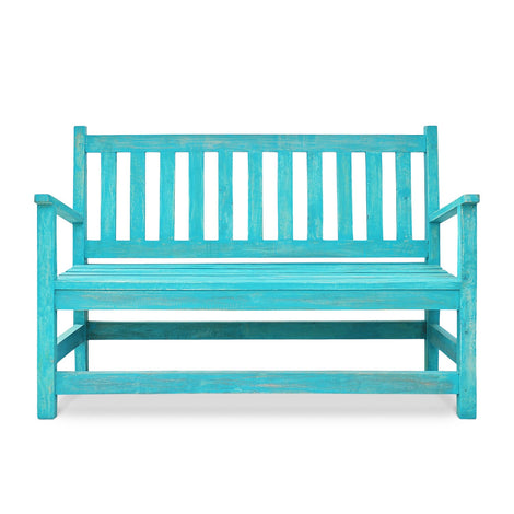 Antique Bench: Turquoise Blue