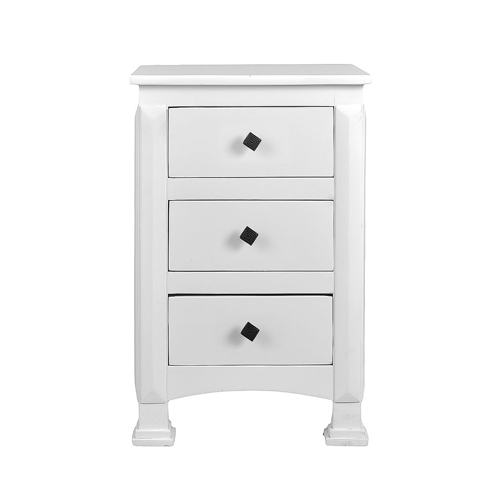 Side Table With 3 Drawers: White