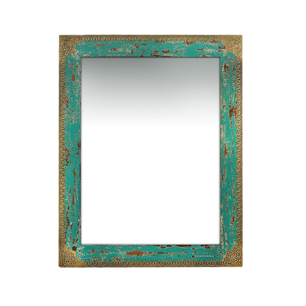 Aqua Mirror With Brass Detailing