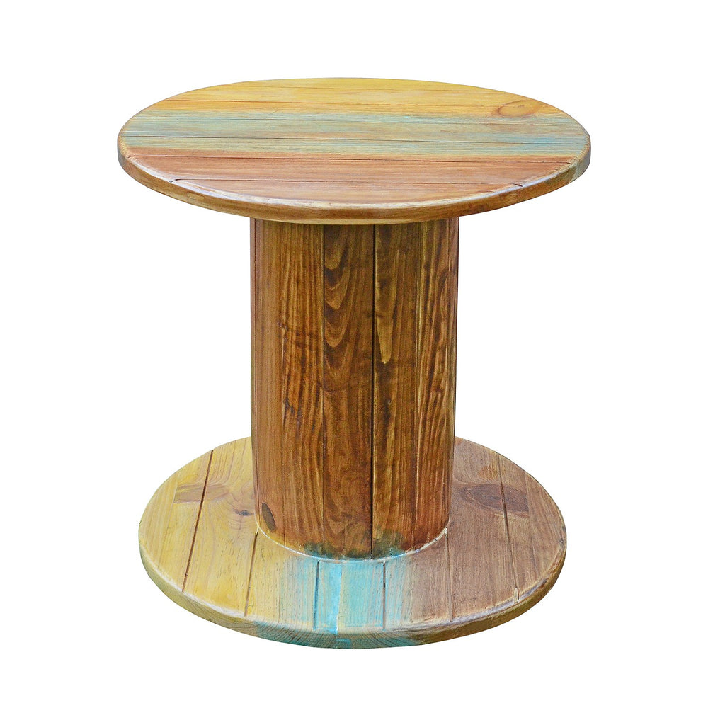 Cable Drum Side Table: Antique Finish