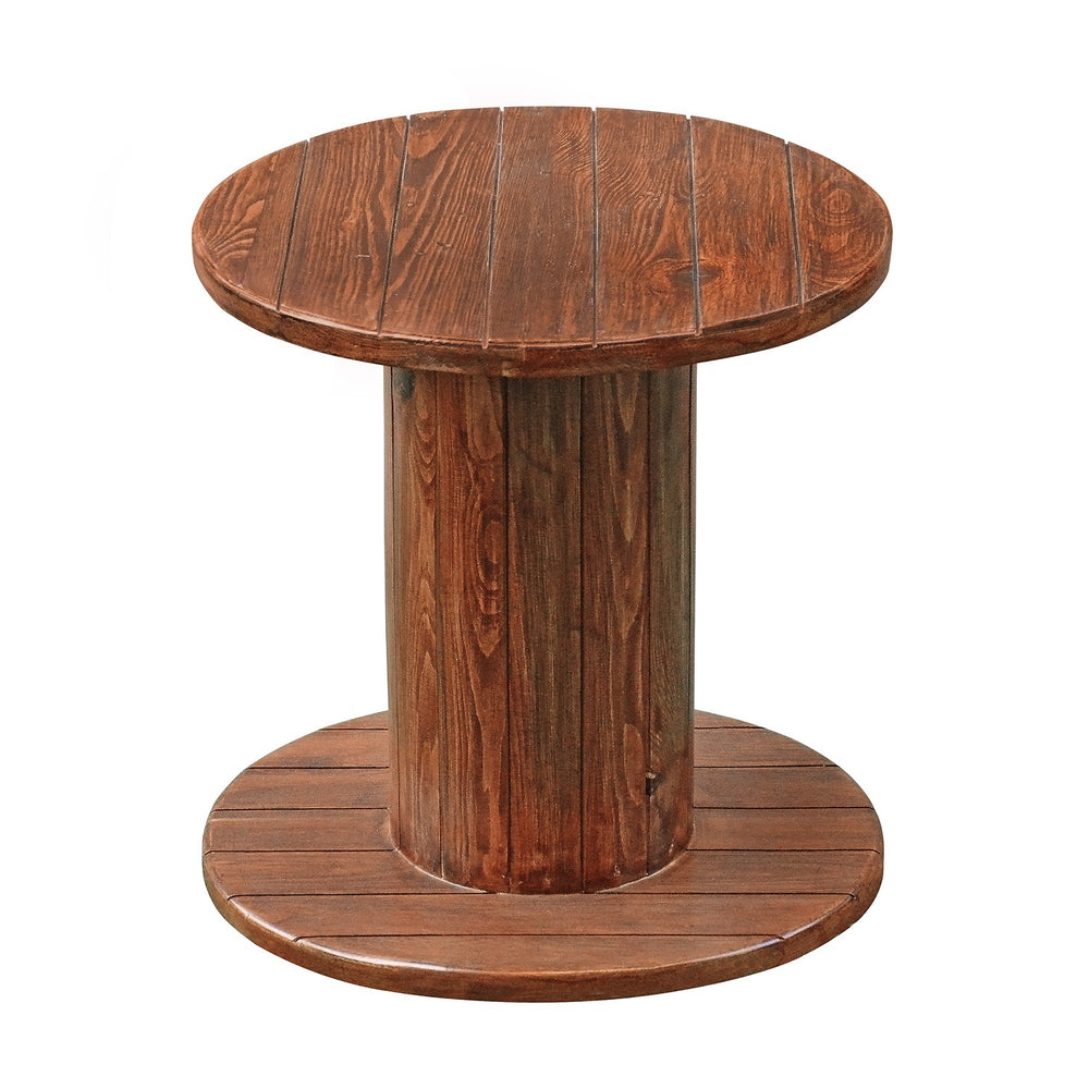 Cable Drum Side Table: Brown