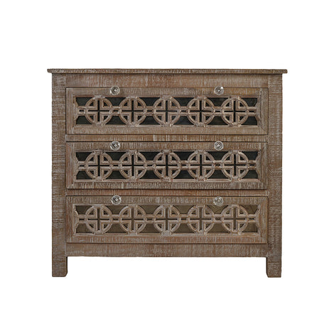Chest Of Drawers With Wood Carving And Crystal Knobs