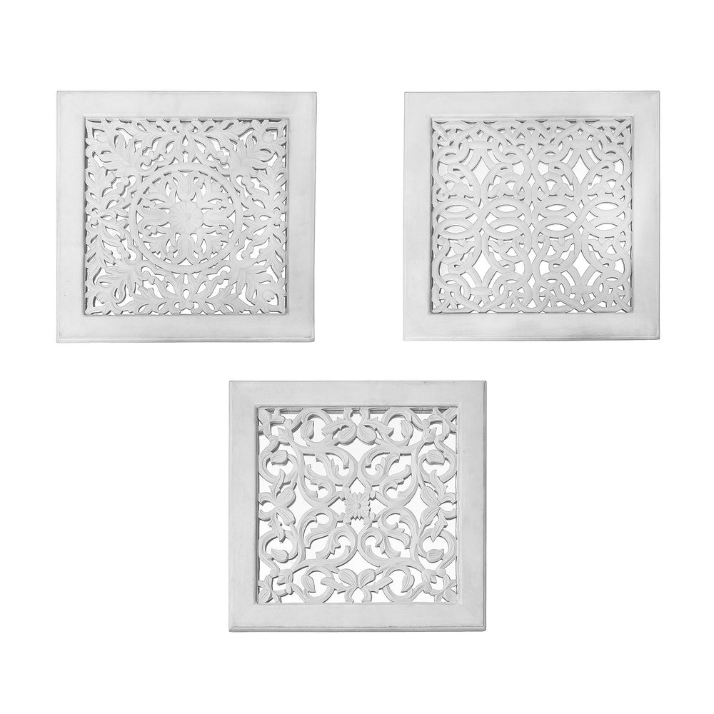 Fretwork Wall Art: White (Set Of 3)