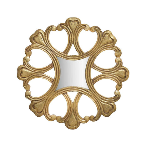Antique Gold Round Wall Art Mirror