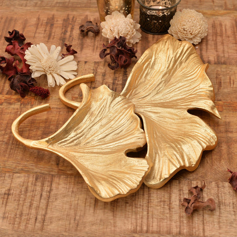 Golden Ginkgo Double Leaf Platter