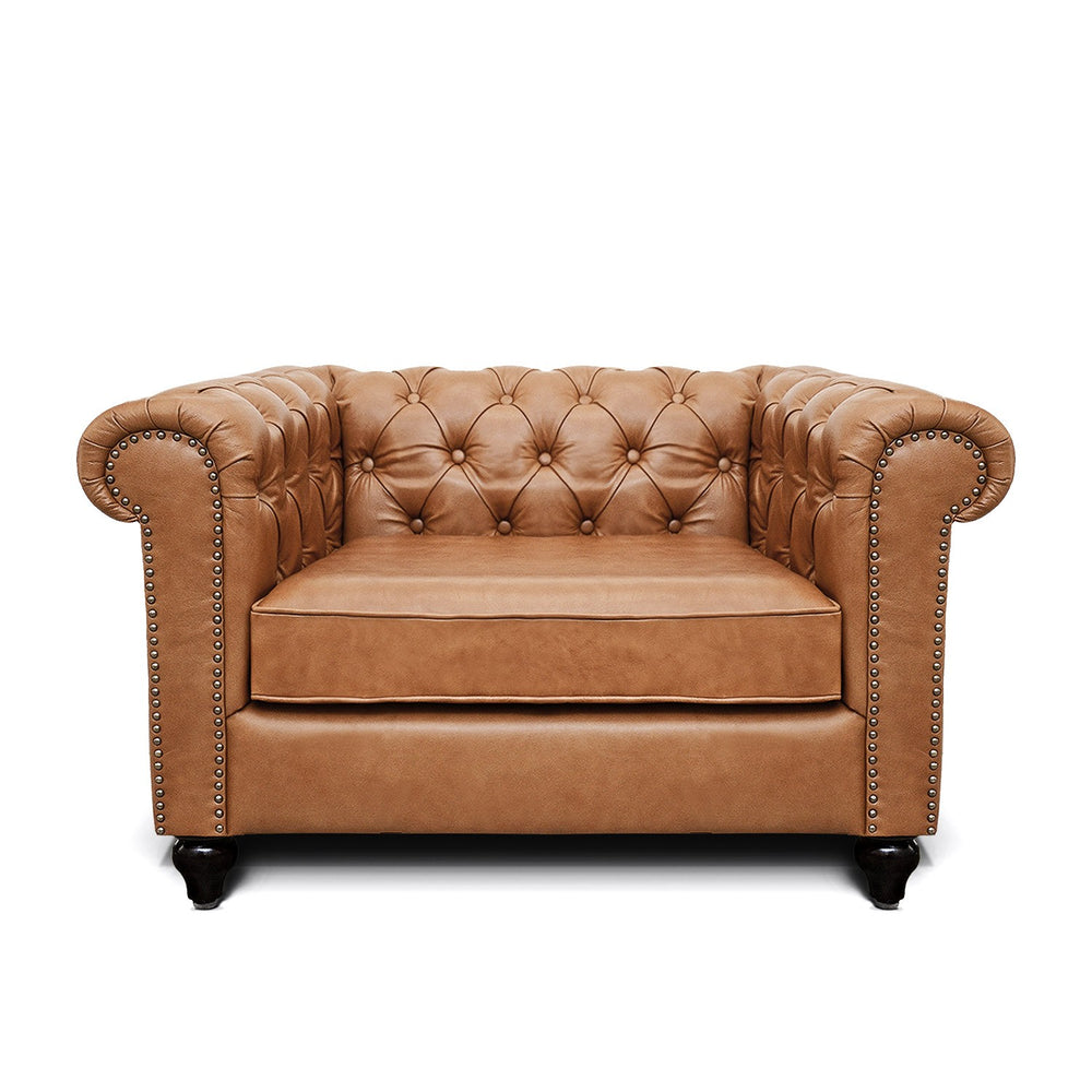 Jacob Chesterfield Single Seater Sofa: Biscuit Brown, Leather