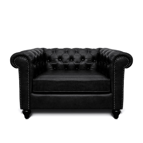 Jacob Chesterfield Single Seater Sofa: Black, Leather