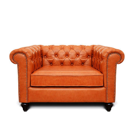 Jacob Chesterfield Single Seater Sofa: Tangerine, Leather
