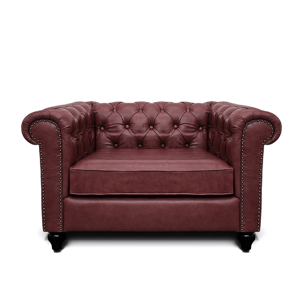 Jacob Chesterfield Single Seater Sofa: Wine, Leather
