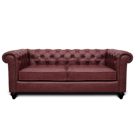 Jacob Chesterfield 3 Seater Sofa: Wine, Leather
